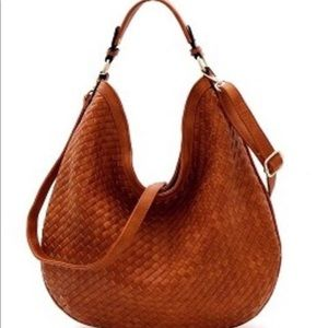 Taupe Leather Knit Hobo Handbag
